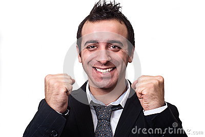 Young businessman enjoying success isolated on white