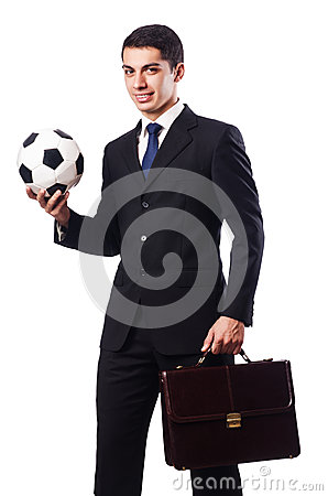 Young businessman with football