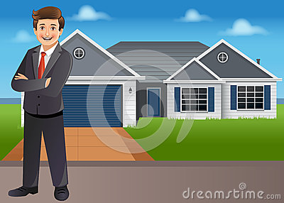 Young businessman in front of house