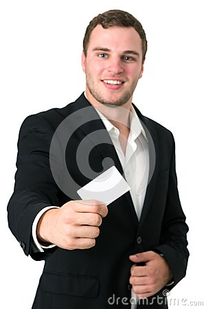 Young Businessman giving he s Business Card
