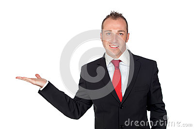 Young businessman with his hand extended