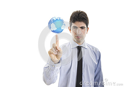 Young businessman hold a world