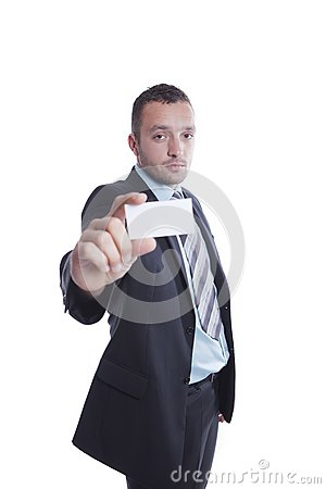 Young businessman holding blank business card