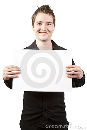 Young businessman holding blank sign