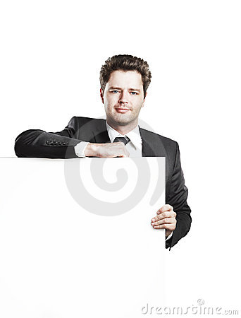 Young businessman holding a blank white board