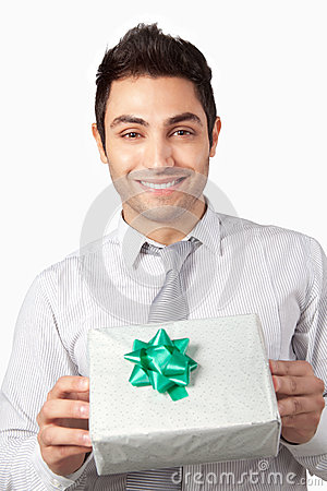 Young Businessman Holding Gift Box