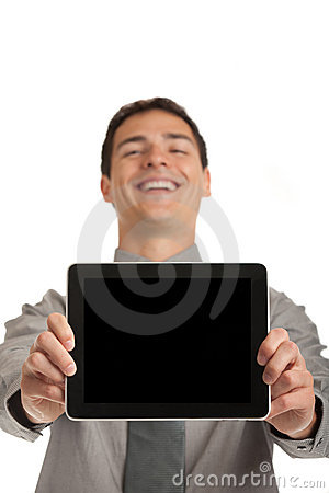 Young Businessman Holding a Touch Pad Tablet PC