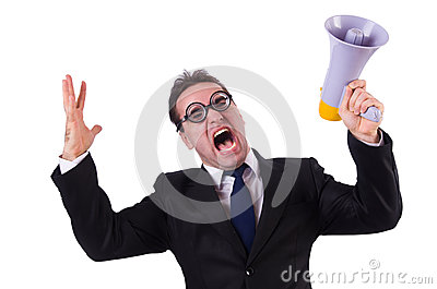 Young businessman with loudspeaker