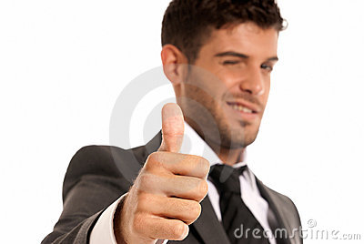 Young businessman OK symbol gesture, isolated