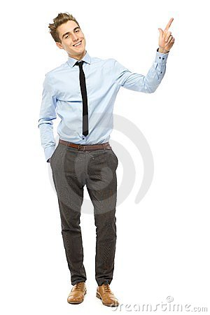 Young businessman pointing up