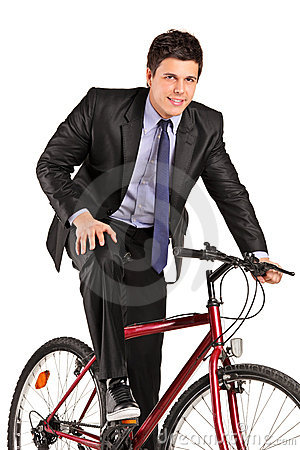 Free Young Businessman Posing On A Bicycle Stock Images - 19291934