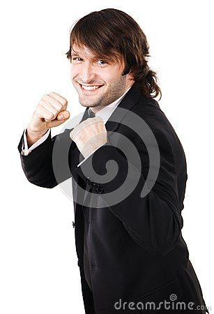 Young businessman is ready to fight