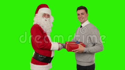 Santa Claus And Young Businessman Shaking Hands, Green Screen ...
