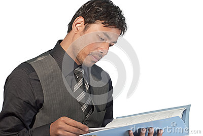 Young businessman reviewing the data