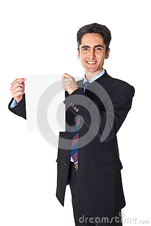 Young businessman is showing the advertisement.
