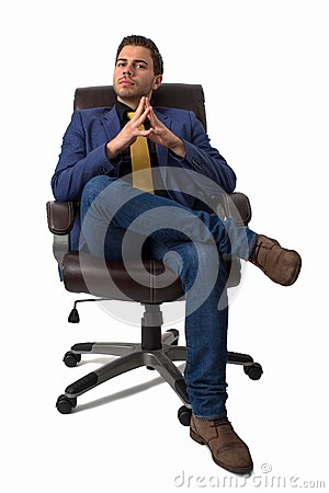 Young businessman sitting on a chair