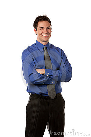 Young Businessman Standing Smiling Isolated