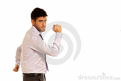 Young businessman strong copy-space isolated
