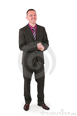 Young businessman in a suit with a big smile