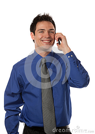 Young Businessman Talking over Cell Phone