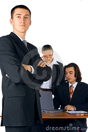 Young businessman with team