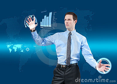 Young businessman using new technologies