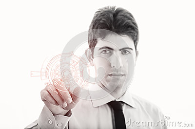 Young Businessman with virtual interface