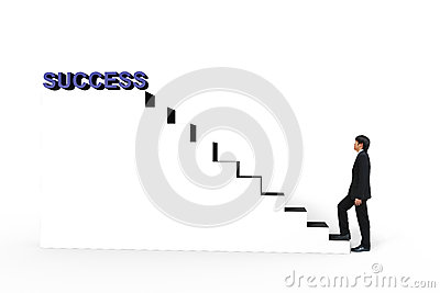 Young businessman walk up to white stair to success 3d text