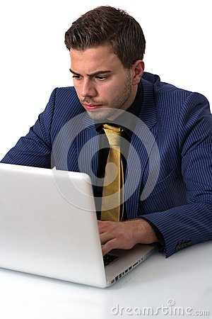 Young Businessman Working on He s Notebook