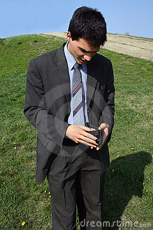 Young businessman worried