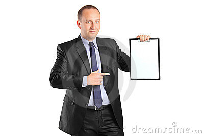 Young businessperson pointing to a clipboard