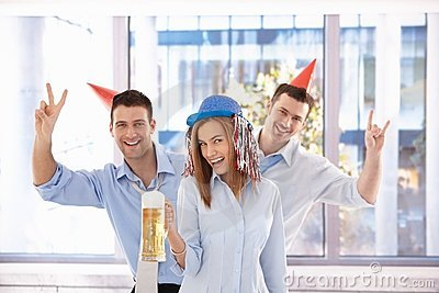Young businessteam having party in bright office