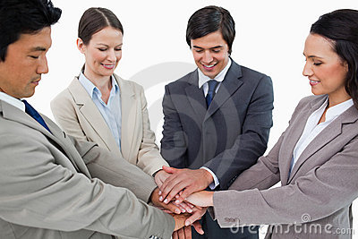 Young businessteam motivating each other
