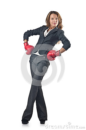 Young businesswoman - boxing concept