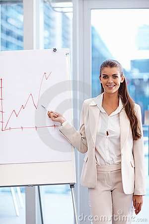 Young businesswoman doing a presentation