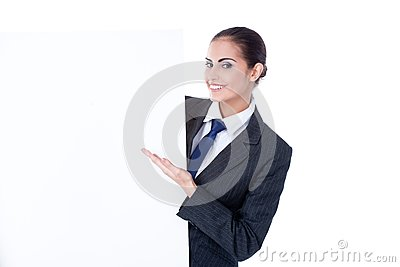 Young businesswoman with an empty copyspace