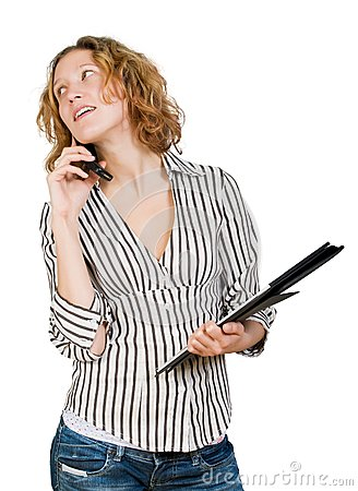 Young businesswoman  with  folder and mobile