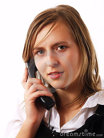 Young businesswoman giving a phone call