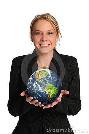 Young businesswoman holding the earth