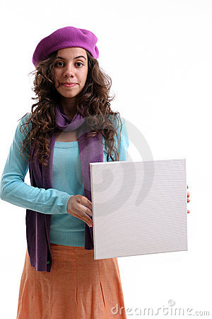 Young businesswoman holding an empty white card