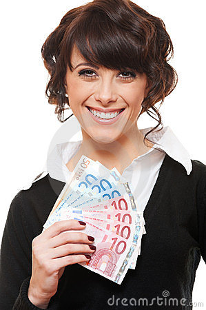 Young businesswoman holding euro