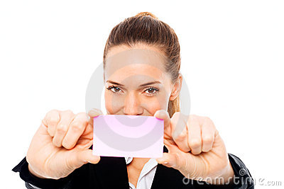Young businesswoman holding sheets of paper
