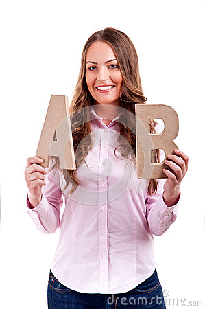 Young businesswoman with letters ab