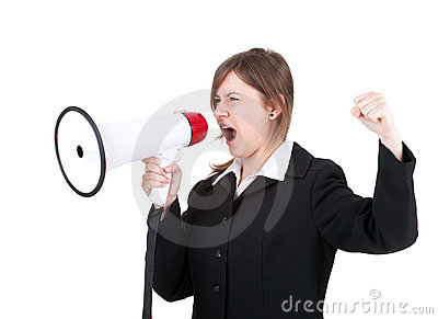 Young businesswoman with megaphone, screaming