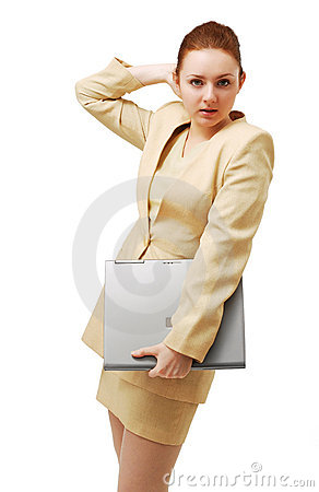 Young businesswoman with notebook PC.