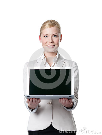 Young businesswoman offers laptop
