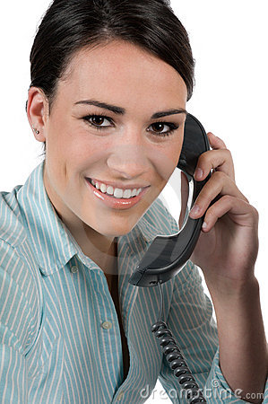 Young businesswoman on the phone, isolated