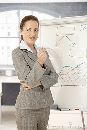 Young businesswoman presenting in office smiling
