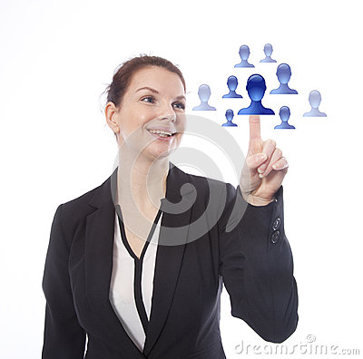 Young businesswoman selecting virtual online friends Stock Photo