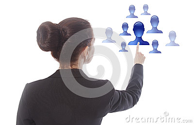 Young businesswoman selecting virtual online friends isolated Stock Photo